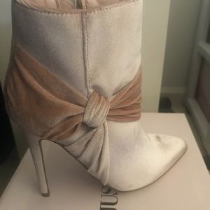 JUST FAB Velour Heeled Boot